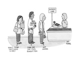 "Three people in express lane checkout, marking ""Didn't think she'd need a ... - New Yorker Cartoon Premium Giclee Print by Amy Hwang"