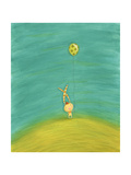 Whimsical Rabbit with Striped Ears Holding Green Spotted Balloon Prints