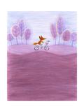 Fox Riding Bicycle Through Purple Tree-Lined Landscape Plakat