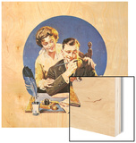 First of the Month (or Family Paying Bills) Wood Print by Norman Rockwell