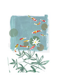 Stylized Koi Fish Swimming in Lily Pond Prints