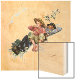 Grandpa and Me: Picking Daisies Wood Print by Norman Rockwell