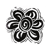 Stamped Black and White Flower with Swirl Petals Art
