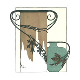 Pair of Vases Wrapped with Leafy Vines Attached to Handles Posters