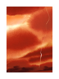 Dark Orange Sky with Lightning Prints