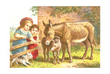 Little Girls Feeding Donkeys Poster