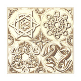 Ornamental Design with Jewish Symbols and Medallions Posters