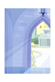 University Campus Through Arched Doorway Poster