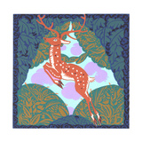 Art Deco-Style Deer with Foliage Bushes Prints