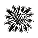 Stamped Look Black and White Daisy Stretched Canvas Print