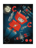 Juvenile-Style Red Robot Flying Prints