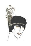 Art Deco Head Piece with Swirl Feathers Posters