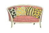 Vintage Sofa with Patterned Pillows Print