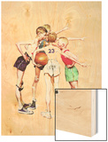Four Sporting Boys: Basketball Wood Print by Norman Rockwell