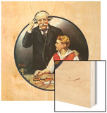 Grandpa Listening In on the Wireless Wood Print by Norman Rockwell