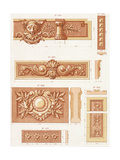 Multiple Bas-Relief Borders with Scrollwork and Leaves Premium Giclee Print