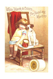 Little Girl Sitting with Dog on Chair Art