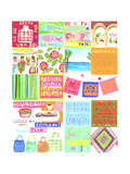 Folk-Art Banners, Food, Flowers, and People Posters