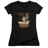 Juniors: Wonder Woman- Deflecting Bullets V-Neck Womens V-Necks
