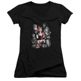 Juniors: Harley Quinn- Roller Derby Team V-Neck T-Shirt