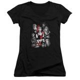 Juniors: Harley Quinn- Roller Derby Team V-Neck T-shirts