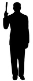 Secret Agent Spy With Gun Silhouette Figuras de cartón
