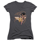 Juniors: Wonder Woman- Shining Hero V-Neck Womens V-Necks
