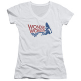 Juniors: Wonder Woman- 75Th Anniversary Silhouette V-Neck Womens V-Necks