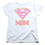 Womens: Superman- Super Mom Pink Shield T-shirts