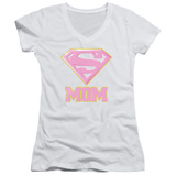 Juniors: Superman- Super Mom Pink Shield V-Neck T-shirts