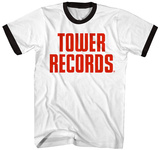 Tower Records- Vintage Stacked Logo (Ringer) T-Shirt