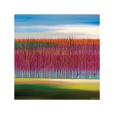 Trees on Magenta Giclee Print by Mary Johnston