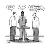 "Three men around a glass, one thinking, ""It's half empty,"" one thinking ""I... - New Yorker Cartoon Premium Giclee Print by Tom Cheney"