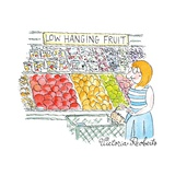 "A Woman shops down the vegetable aisle of a grocery store.  A sign says: ""... - New Yorker Cartoon Premium Giclee Print by Victoria Roberts"