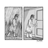 A blurry man walking in the rain, revealed in the next frame to just be bl... - New Yorker Cartoon Premium Giclee Print by Peter Kuper