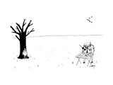 Police officer with compass finds boy next to tree with apple on his head ... - New Yorker Cartoon Premium Giclee Print by Edward Steed