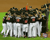 Miami Marlins players pay tribute to late Jose Fernandez after game at Marlins Park 9/26/16 Photo