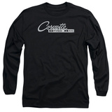 Long Sleeve: Chevrolet- Chrome Vette Stingray Logo T-Shirt