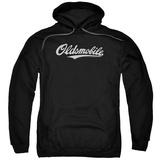 Hoodie: Oldsmobile- Distressed Script Logo Pullover Hoodie