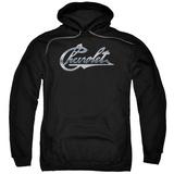 Hoodie: Chevrolet- Vintage Vette Chrome Script Pullover Hoodie