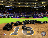 Miami Marlins leave hats on pitching mound to honor Jose Fernandez at Marlins Park on 9/26/2016 Photo