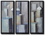 Cityscape Triptych Hand Embellished Canvas
