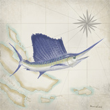 Sailfish Map II Art by Rick Novak