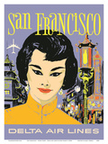 San Francisco - China Town - Delta Air Lines Posters by John Hardy
