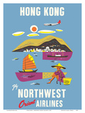 Hong Kong - Fragrant Harbour - Northwest Orient Airlines Posters by  Pacifica Island Art
