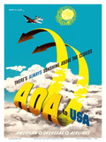 AOA to USA - American Overseas Airlines - There's Always Sunshine above the Clouds Posters by  Jan Lewitt & George Him