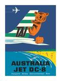 Australia - TAI (Transports Aérien Internationaux) - Douglas Jet DC-8 - Koala Bear Giclee-tryk i høj kvalitet af Seguin