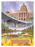Visit Pennsylvania - Harrisburg, PA - State Capitol, Rockville Bridge, Italian Lake Park Posters by Bart Sloane