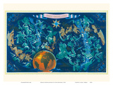 Zodiac Constellations - Star Planisphere Posters af Lucien Boucher