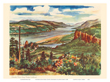 Columbia River Gorge, Pacific Northwest - United Air Lines Calendar Page Posters by Joseph Fehér